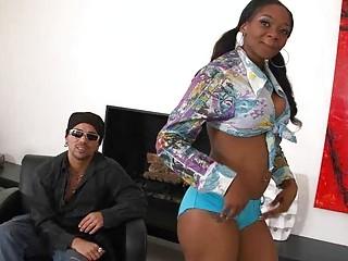 Round ass ebony babe pick up a white dude