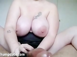 Busty babe gives prostate massage and handjob