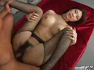 huge titty eastern  inside fishnet pantyhose has