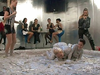 desperate lesbo angels at mud wrestling contest