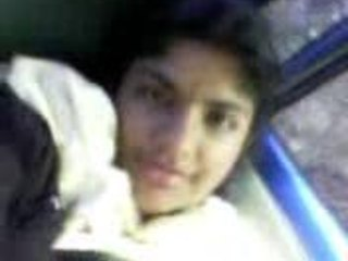 indian angel uncovering tits inside car