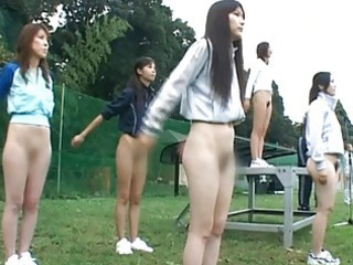 asian shoolgirls are exposed at public