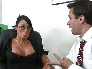 superb slutty brunette worker licking giant penis