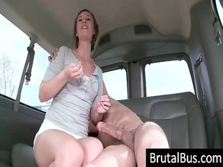 the brutal bus has arrived and a young brunette