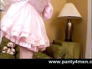 transvestite into babydoll light red cloth adores