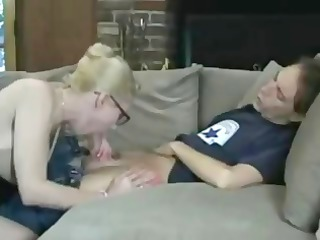 nerdy blonde milf sucks his fat amateur tool and