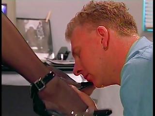 male tasting slut&s pantyhose clad foot