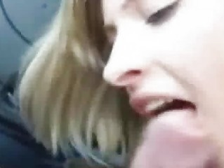Beautiful Blonde Teen Sucks Cock in a Car