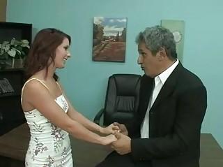 the associate interview with busty elderly boss