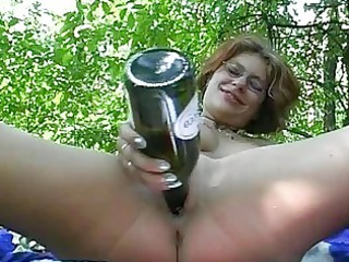 young chick devices and licks outdoor