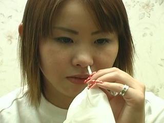 charming japanese teenager bizarre nose