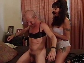 crossdressing fucker banged with strapon