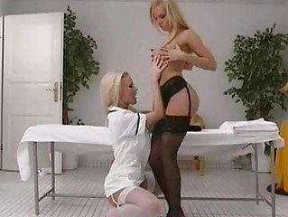blond slut into ebony pantyhose copulates into