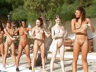 sexual young posing openair enjoy an army