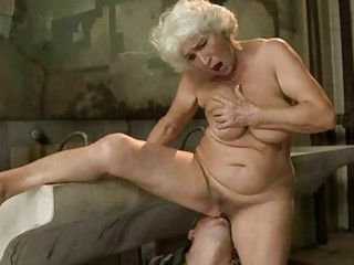 naughty old gets gangbanged inside public toilet