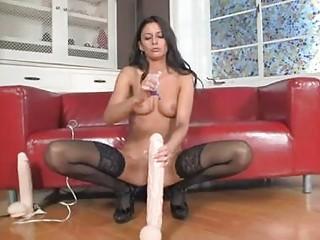 randy brunette into nylons sticks giant vibrator