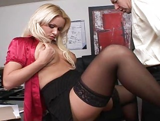 Big boobs blonde boss get a big dick