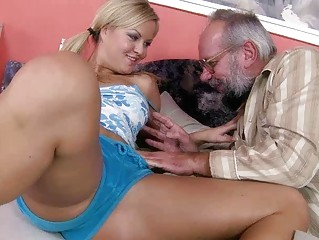 fresh blond teasing porn with grandpa