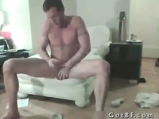 bearded hunk strips and plays gay porn