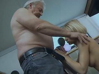 giant boobed blond angel licks granny mans giant