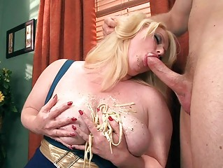 horny blond bbw amp gives astonishing cock sucking