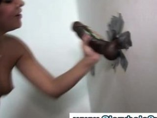 filthy whore worships gloryhole cock