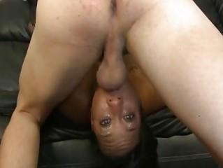 asshole brown bitch gagging on ashen dick