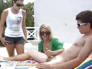 poolside handjobs with gorgeous bleached angels