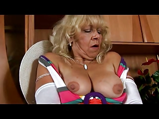 elderly into ashen pantyhose teases with cave