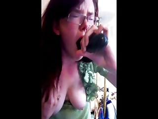 loveliness deepthroat &; gag on sex toy 2