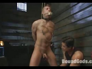two gay masters tie up and gang bang two subs
