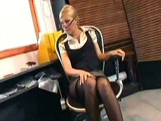associate drilling into pantyhose and stilettos