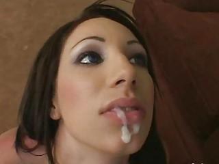 amateur brunette chick gulps cumshots