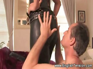 hot leather clad domina queens her sub