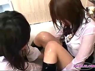 2 schoolgirls inside uniforms jelly on denims