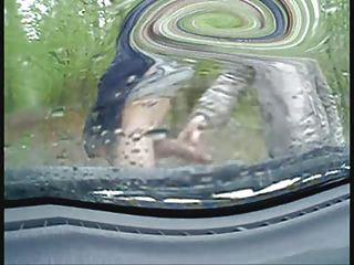 handjob inside my car on a rainy hour