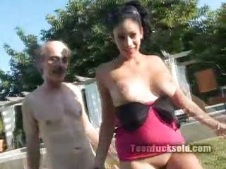 elderly man copulates sweet young