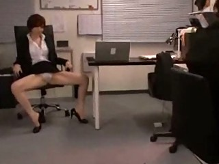 workplace girl exposing off her panty jerking boy