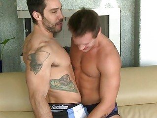 two muscled tattoed hunks give every another a