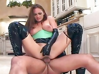 brunette fucks in latex bikini boots and gloves