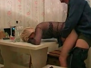 sweet russian amp inside fishnet pierced by her