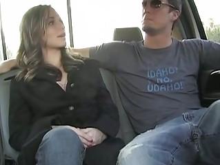 sweet dakota brookes licks penis into a car