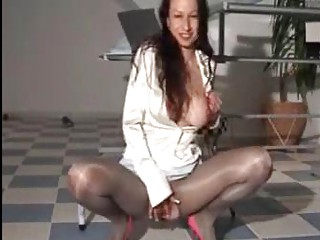 piss satin  woman into super shiny cloth