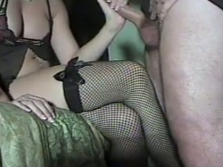 handjob jerkoff on fishnets